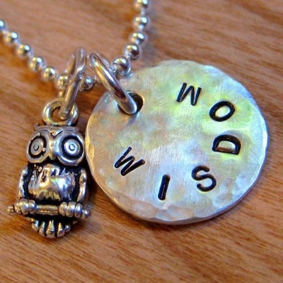 "Owl Jewelry - Owl Charm Necklace or Keyring with Hand Stamped Personalized 1/2"" disc - Owl Necklace"