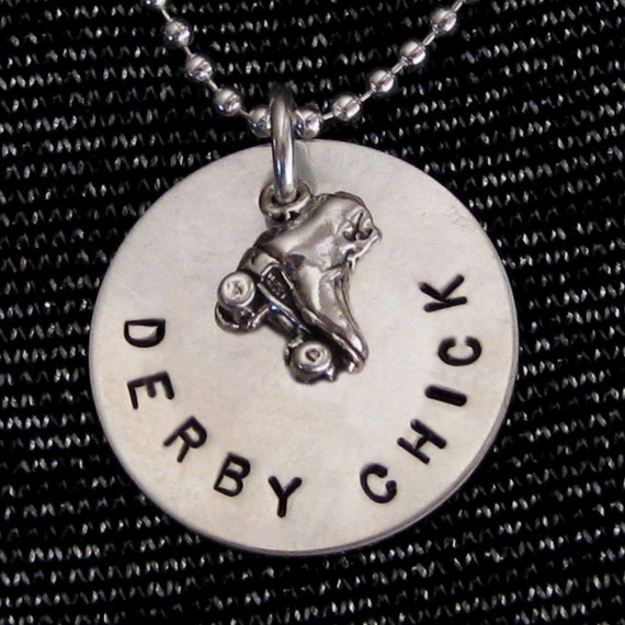 "Derby Jewelry - Derby Chick - Roller Skate Charm Necklace or Keyring with Hand Stamped 3/4"" Disc"