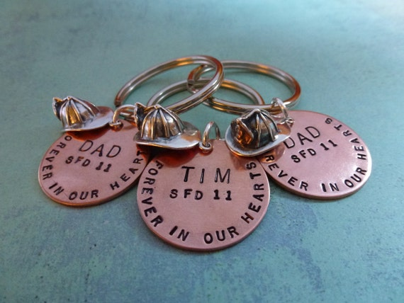 Hand Stamped FIREFIGHTER CHARM KEYCHAIN Copper with Sterling Silver Firehat - Firefighter Gift - Fireman Gift