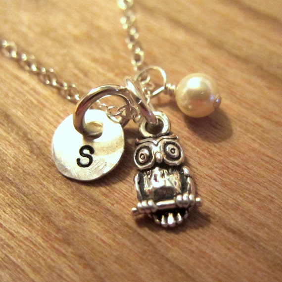 Hand stamped owl charm necklace with 1 4 disc and for How do you make hand stamped jewelry
