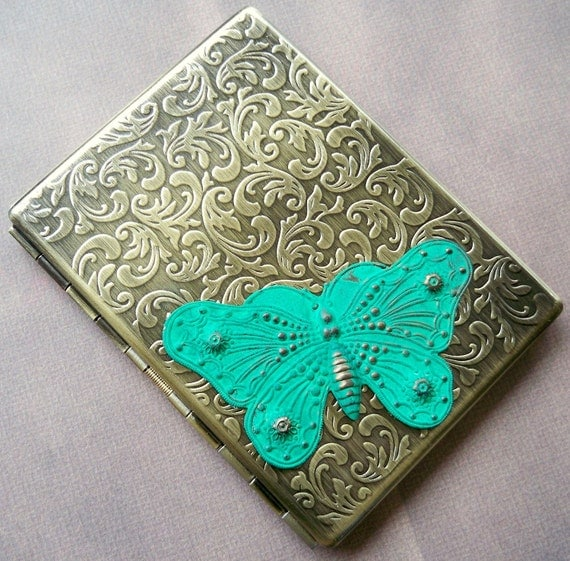 Victorian Patina Butterfly Cigarette Case Business Card Case