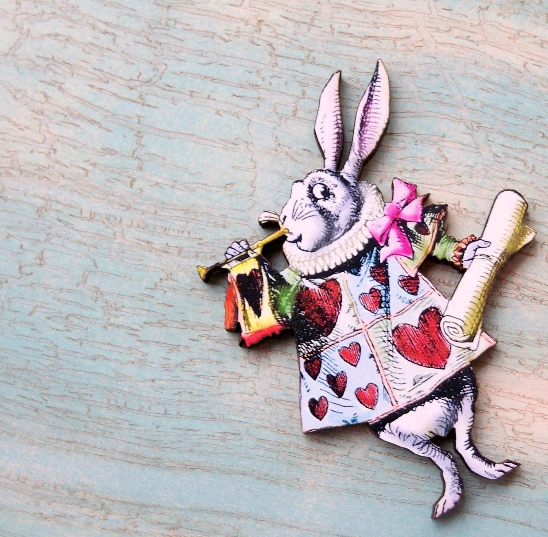 vintage alice in wonderland white rabbit image brooch pin
