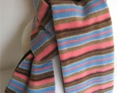 ON SALE- REVERSIBLE Pink, Brown, Blue Striped Fleece with Brown Ribbed Cotton Scarf for Girls-toddler, child