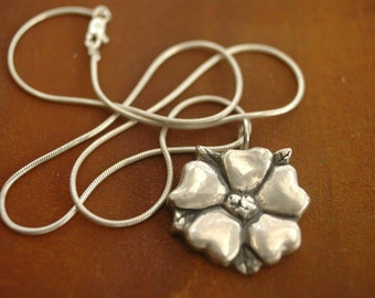 Silver Flower Blossom on Silver Snake Chain