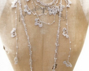 FEATURED on JeWELRY AFFAIRE MaGAZINE . Linen Lariats -Necklaces .Set of 2