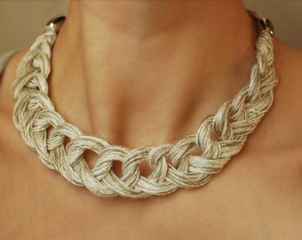 Linen Crocheted Necklace. LETICIA. Natural grey and White