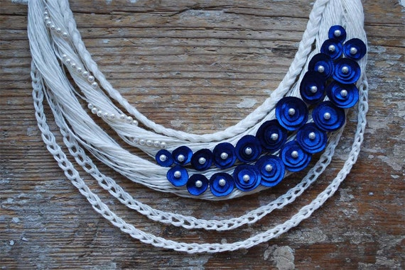 Linen Necklace  . FLORA.  Off White and Blue. READY to ship.