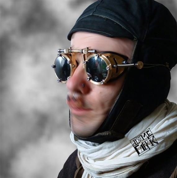 steampunk brass aviator goggles