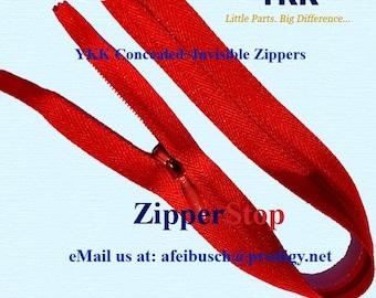 18 inch - Invisible Zipper - Closed Bottom - RED- Hidden YKK zippers