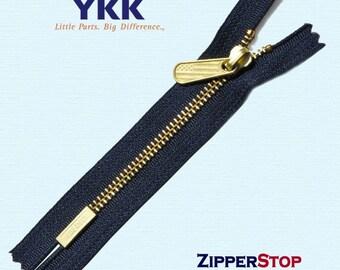 7inch YKK Number 5 Bottom Badge - Brass Zipper - New Design Bottom Stop