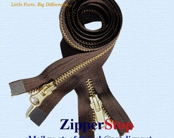 36 inch - YKK - Number 5 - 2 Way - Brass Separating Zippers - Brown