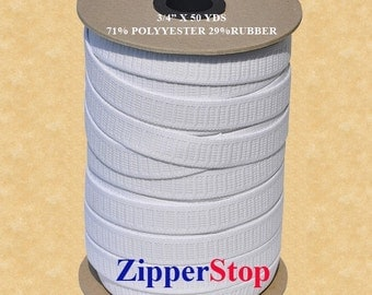 WHOLESALE Non Roll Elastic-Made in usa 3/4inch - Polyester - 50 YDS for Roll - Made in USA Select Color White~ ZipperStop Wholesale