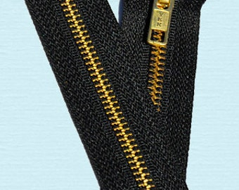 "12 "" EXPOSED YKK Zipper-12 inch  Boot and Handbag Zipper - Brass Metal Teeth Zipper - # 5 - Closed End - Black- 580 - Genuine YKK Zipper"