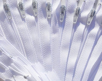 "14""YKK Zippers Wholesale-Twelve White 14 Inch Zippers YKK number 3 Skirt and Dress  Color 501 Closed End"