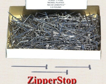 Number 32-2inch ~PRYM~ - Steel T- Pins-Nickel Plated - 1/2 Lb Box / Buy as many as you need