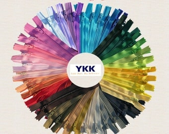 7 and  8 inch~100 zippers # 3 Nylon Coil Zipper(YKK ,Vintage Talon) Assorted~Made in USA~Zipperstop stocks over 500 Colors~Requests Accepted