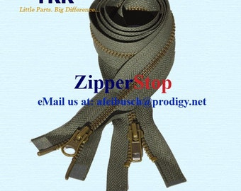 36 inch YKK Number 5 - 2 Way - Antique Brass Zippers Separating  Bottom - Select Color~ZipperStop Wholesale Authorized Distributor YKK®