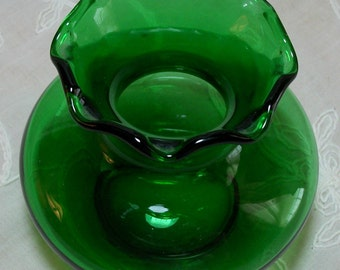 Vase Small Vintage Green Glass