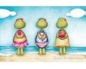 Turtle Girls of Summer Print 8x10