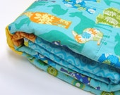 "animal baby quilt- Clearance Sale- ""Animal Jumble"" in turquoise, orange, yellow, green- forest animals, woodland animals, zoo animals"