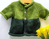 Baby sweater- Green short sleeved cardigan- apple green, emerald, washable wool blend, Ready to ship FREE US SHIPPING thru 12/31/2013