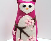 Sale hoot owl- 8 inch stuffed owl with flowering branches in deep, bright pink, with sparkling beads, Ready to ship