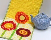 "Poppy table runner- quilted in bright yellow, red, orange and green- ""Poppy Party""-Christmas in July, FREE US SHIPPING"