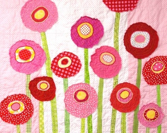 """Baby quilt - poppies-wall art quilt- Custom Orders """"Poppy Garden"""" in pinks and reds, MADE TO ORDER"""