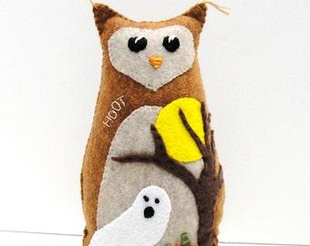 Sale- Halloween felt owl- 8 inch stuffed Hoot with pumpkins, tree, full moon, ghost, Ready to ship