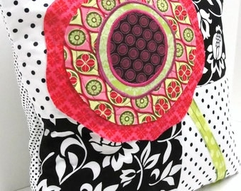 poppy pillow cover in black, white, red, pink, and green, cushion cover,  14 x 14 ready to ship