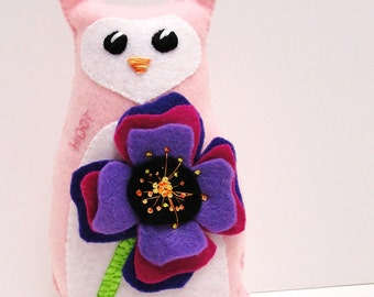 Sale- felt owl- 8 inch stuffed Hoot owl in pink with purple, fuschia and violet poppy- hand stitched, embroidered