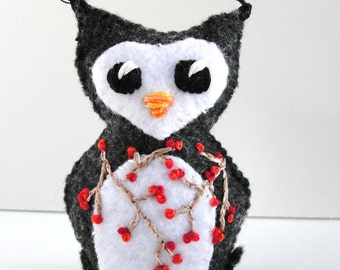Sale- felt owl- stuffed, wee winter owlet in charcoal with red winter berry branches, Ready to ship