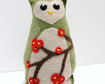 Sale- Stuffed felt owl- 8 inch Hoot owl in moss green with branches of red winter berries, Ready to ship