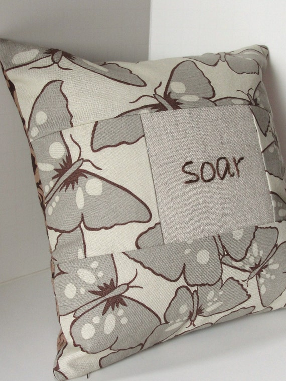 hand embroidered pillow - ''soar'' with butterflies in taupe and brown