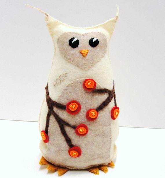 Sale-felt owl- 8 inch Hoot stuffed owl in winter white with red and orange berries, Ready to ship