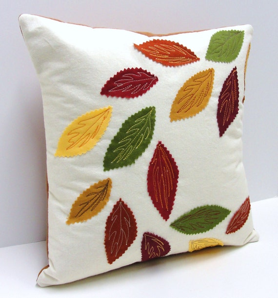 swirling leaves pillow cover for Autumn- rust, green, gold, burgundy and yellow appliqued leaves