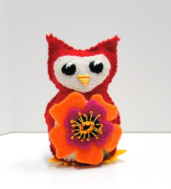 Sale- felt owl bright red wee  owlet with  bright poppy in orange and fuschia- Ready to ship