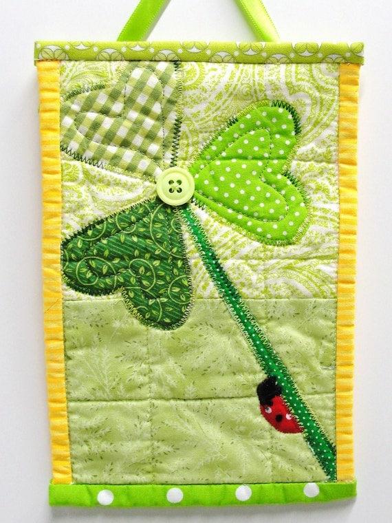"mini wall quilt- shamrock with ladybug- ""Climbing O' the Green"" Irish green, wall quilt, applique"