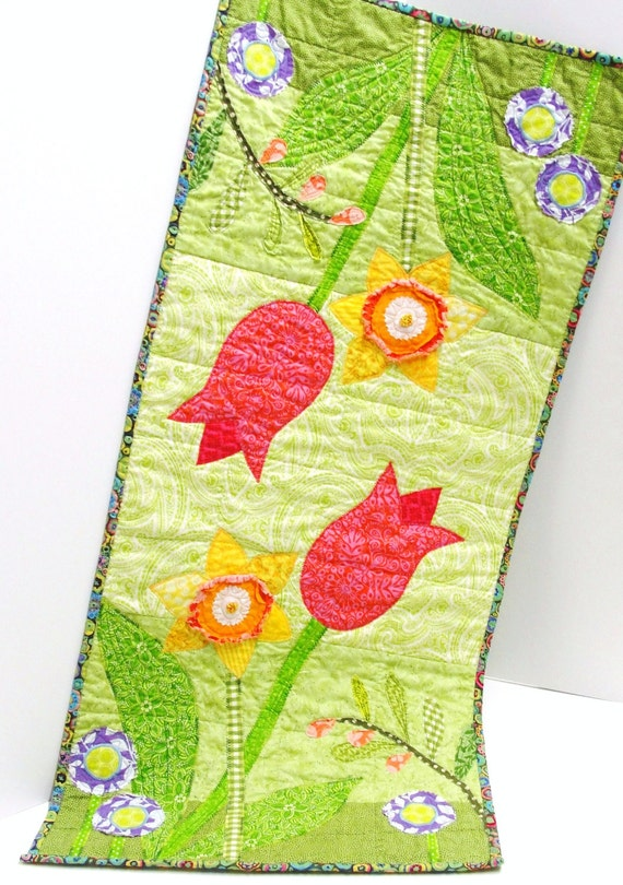 "Quilted table runner for Spring- ""Dreamy Spring Garden"" with tulips, daffodils, purple posies"