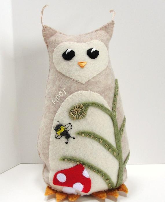 felt owl- 8 inch stuffed HOOT owl with mushroom, fern, bumble bee