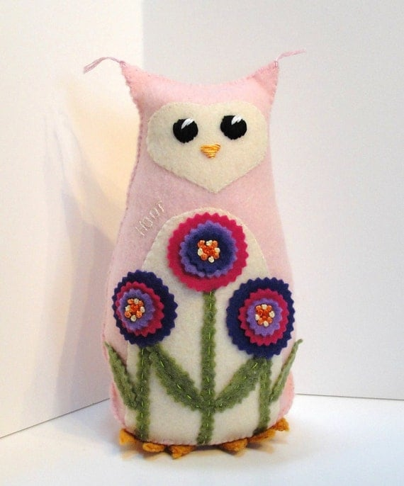 Sale-felt owl- 8 inch stuffed owl in rosy pink with pink and purple flower garden, Ready to ship