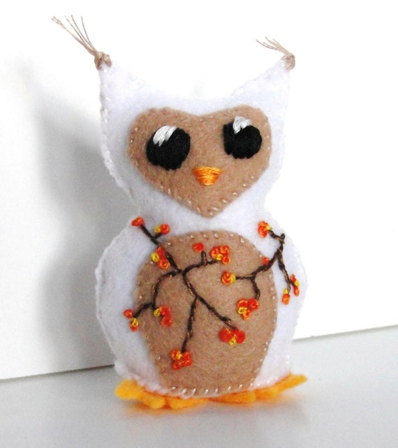 felt owl- stuffed Autumn-Winter wee feltie owlet in white and tan with bittersweet branches