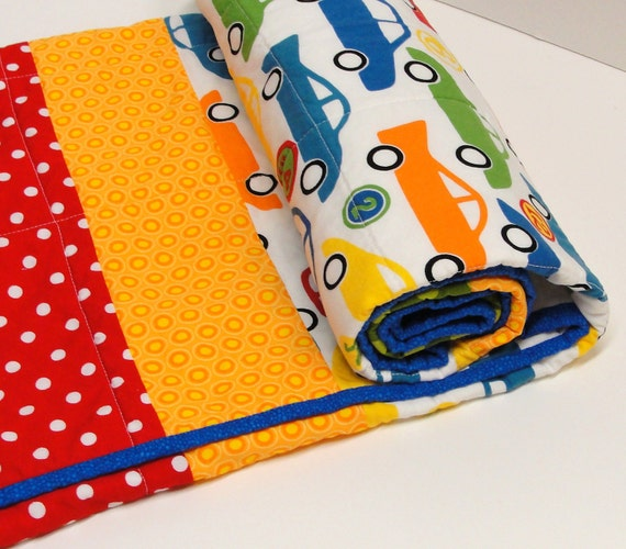 "Baby boy quilt- cars in yellow, green, blue , orange and red ""vroom""-crib quilt, toddler quilt, transportation vehicles"
