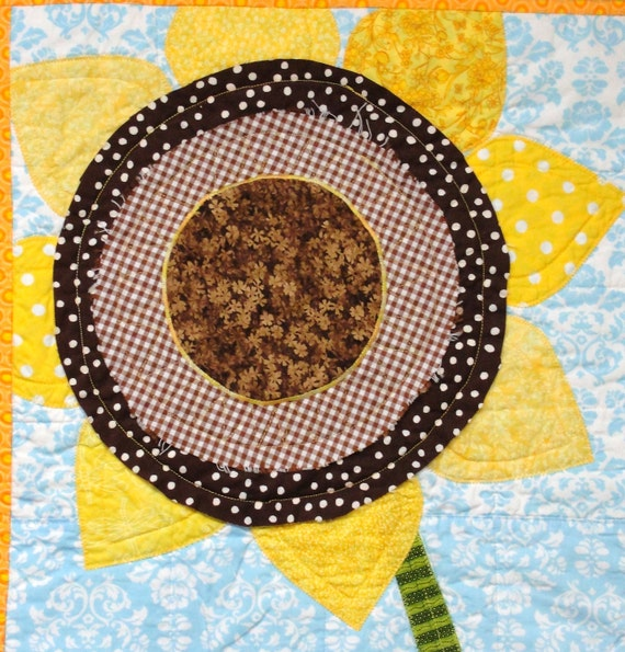 """sunflower quilt- wall art quilt-  """"Sunny"""" single stem on blue-Christmas in July, christmasinjuly, FREE US SHIPPING"""