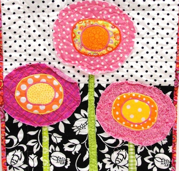 poppy quilt-  wall art quilt in pink, yellow and orange on black and white-Christmas in July, FREE US SHIPPING