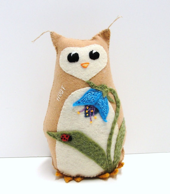 Sale- 8 inch stuffed felt owl- hoot owl in tan with blue, bell-shaped flower, ladybug hand stitched, embroidered