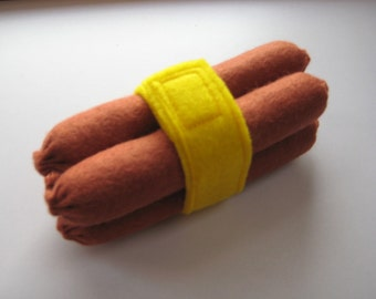 Wool Felt Hot Dogs Pack of 4 with band