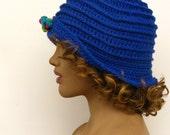 Marine blue cloche hat