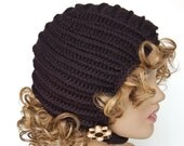 Crocheted pilot cap - Black