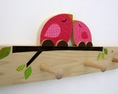 Mother and Baby Bird Peg Rack -Hot Pink - eco-friendly by Maple Shade Kids